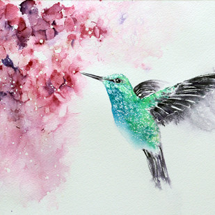 Hummingbird Watercolor Painting Original by Nisha Sehjpal Digital Print by Nisha Sehjpal,