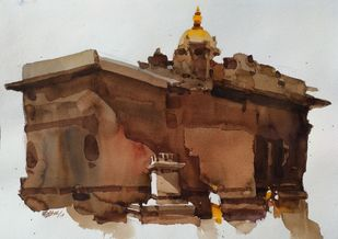 Detailing the times gone by by Prashant Prabhu, Impressionism Painting, Watercolor on Paper,