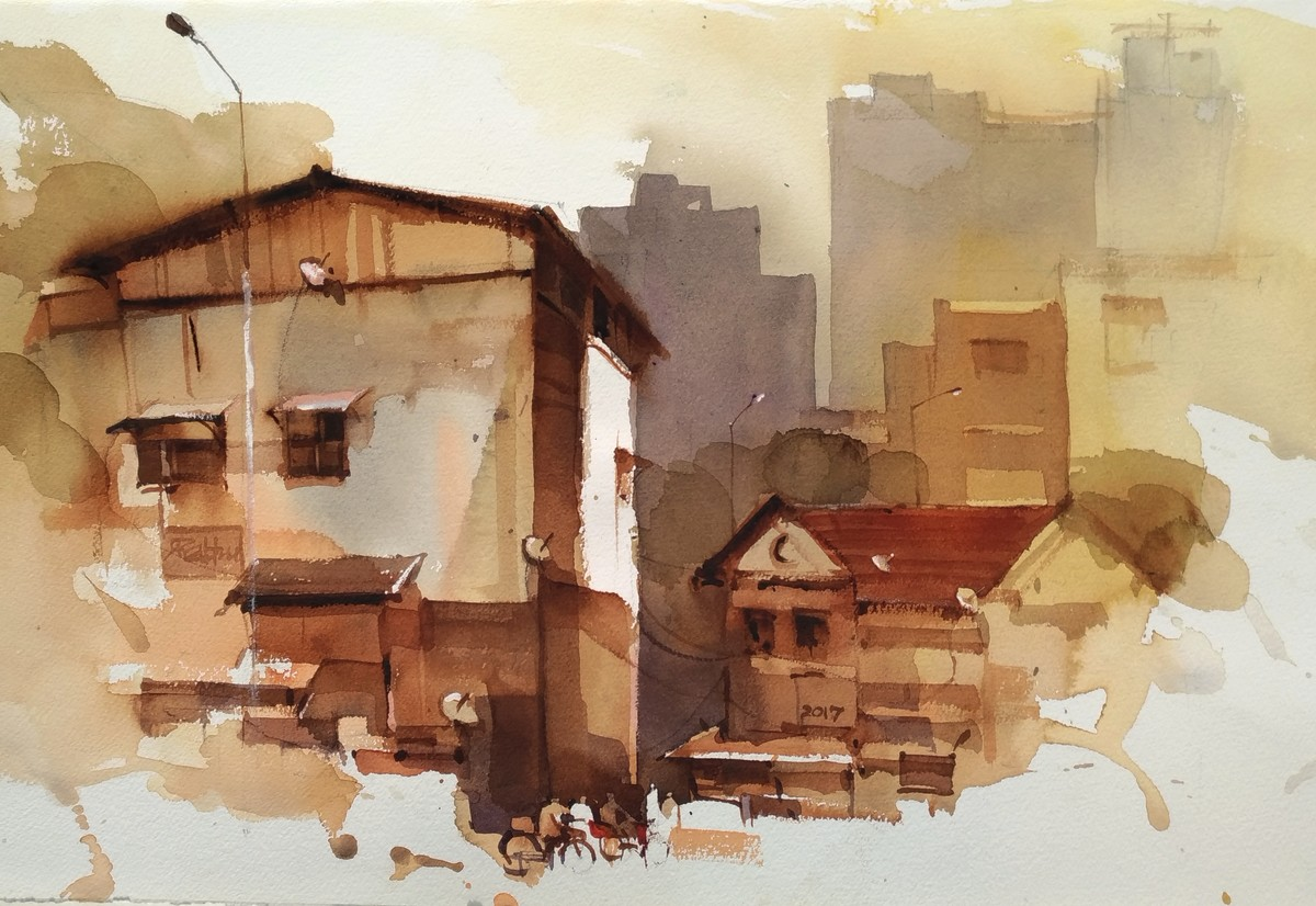 Hopping around Matunga by Prashant Prabhu, Impressionism Painting, Watercolor on Paper,
