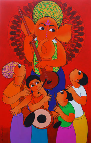 WELCOME GANESHA by Dnyaneshwar Bembade, Expressionism Painting, Acrylic & Graphite on Canvas,
