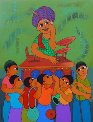 BIOSCOPE by Dnyaneshwar Bembade, Expressionism Painting, Acrylic & Graphite on Canvas,