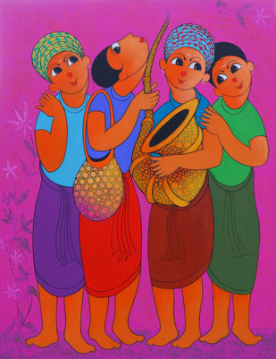 MUSICAL SOULMATE by Dnyaneshwar Bembade, Expressionism Painting, Acrylic & Graphite on Canvas,