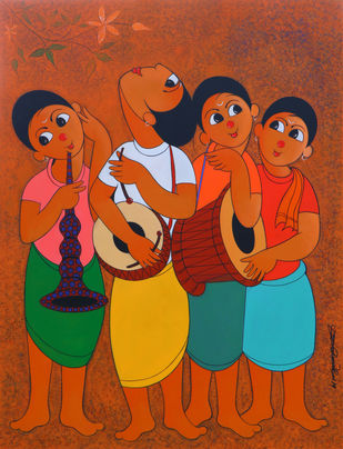 MUSICAL ENVOIRMENT by Dnyaneshwar Bembade, Expressionism Painting, Acrylic & Graphite on Canvas,