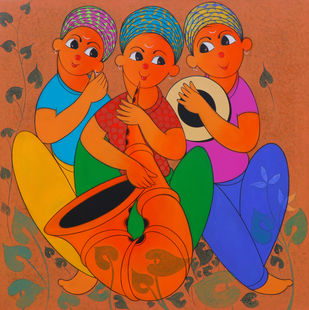 MUSICAL ENJOY 1 by Dnyaneshwar Bembade, Expressionism Painting, Acrylic & Graphite on Canvas,