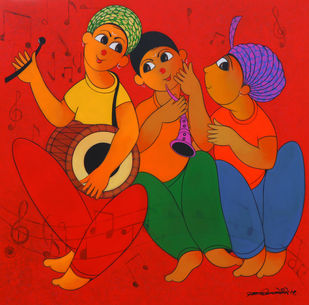 TUNE MAKER 1 by Dnyaneshwar Bembade, Expressionism Painting, Acrylic & Graphite on Canvas,