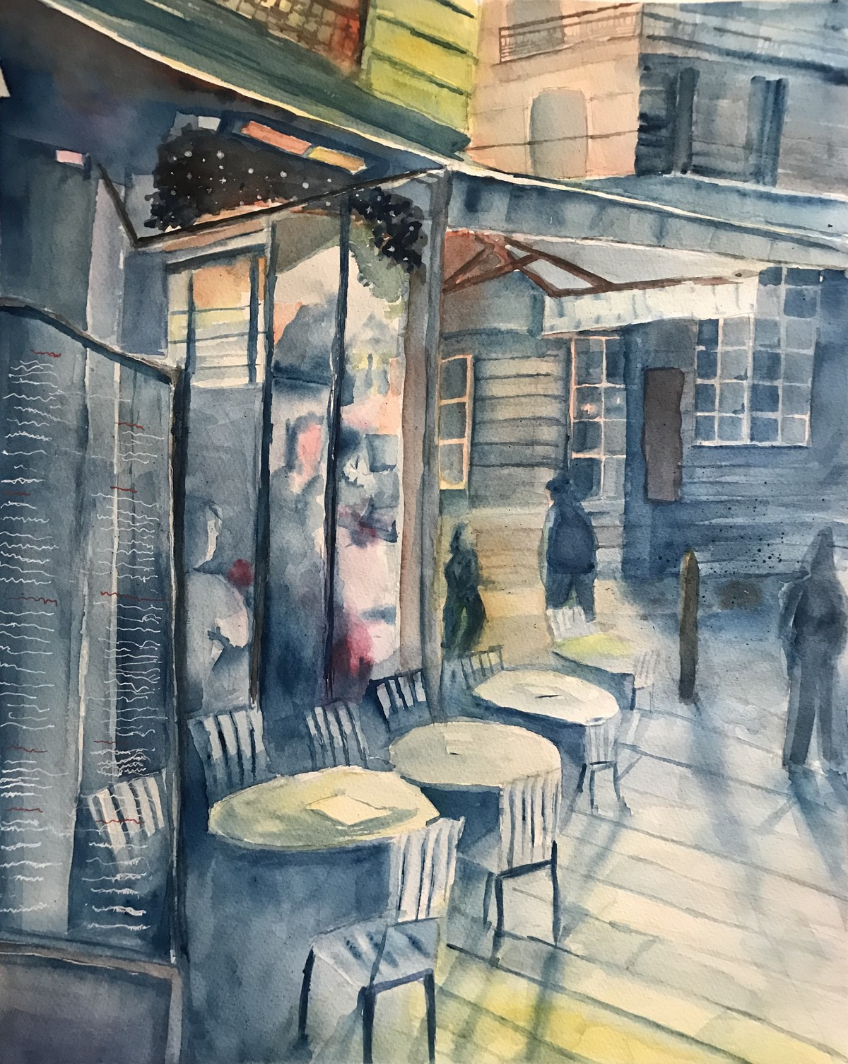 Sunset at Cafe by Nahid Aamina Sowkath, Impressionism Painting, Watercolor on Paper, Green color