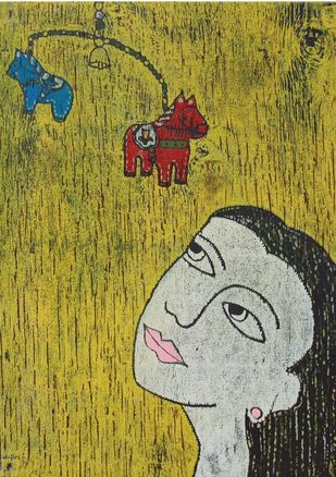 Portrait II by Kanika Shah, Expressionism Printmaking, Wood Cut on Paper,