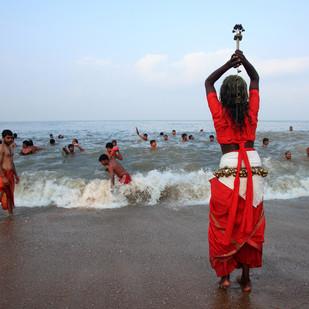 Oracles of Kerala by Aji Jayachandran, Image Photography, Digital Print on Canvas, Cyan color