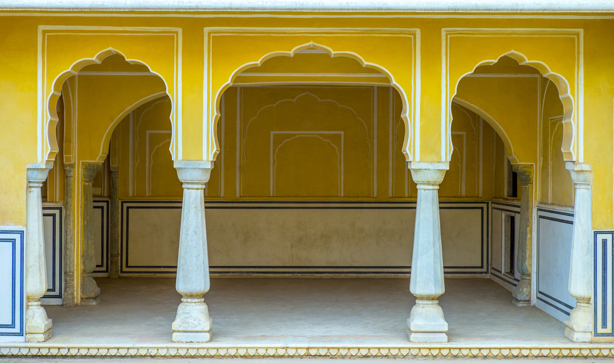 Yellow Arches of Jaipur by Gautam Vir Prashad, Image Photography, Giclee Print on Hahnemuhle Paper, Brown color