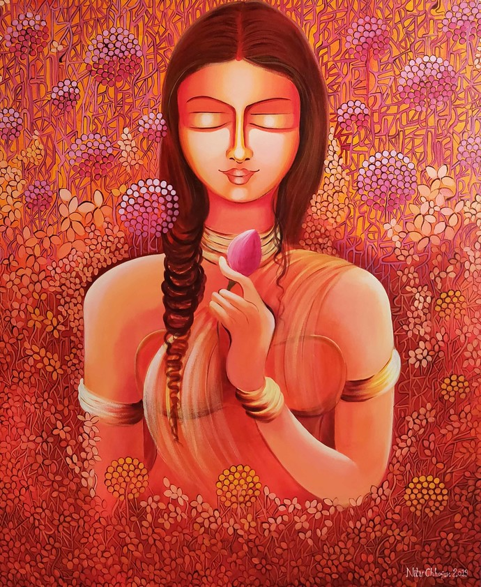 Selflove - Loving My Own Identity by NITU CHHAJER, Decorative Painting, Acrylic on Canvas, Red color