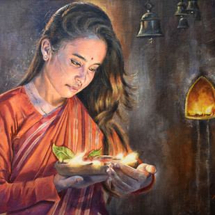 PRAYER II by Debojyoti Boruah, Realism Painting, Acrylic on Canvas,