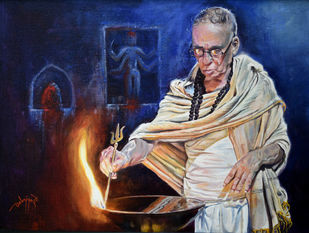 PRAYER by Debojyoti Boruah, Realism Painting, Acrylic on Canvas, Blue color