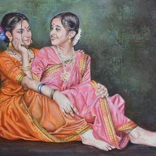 SAKHI- Friendship forever by Debojyoti Boruah, Expressionism Painting, Acrylic on Canvas, Brown color