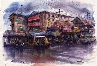 After the Rain by Roney Devassia, Impressionism Painting, Watercolor on Paper, Brown color