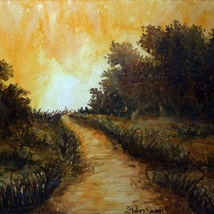 THE WARM LIGHT by Ram Kumar Maheshwari, Impressionism Painting, Watercolor on Paper, Brown color