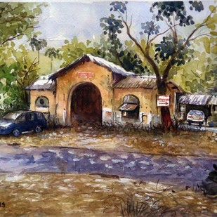 MUMBAI SPOT by Ram Kumar Maheshwari, Impressionism Painting, Watercolor on Paper, Brown color