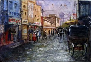 AFTER RAIN by Ram Kumar Maheshwari, Impressionism Painting, Watercolor on Paper, Gray color