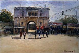 GORKHI GATE , GWALIOR by Ram Kumar Maheshwari, Impressionism Painting, Watercolor on Paper, Brown color
