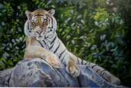 REST IN THE WILD by Debojyoti Boruah, Impressionism Painting, Acrylic on Canvas, Green color