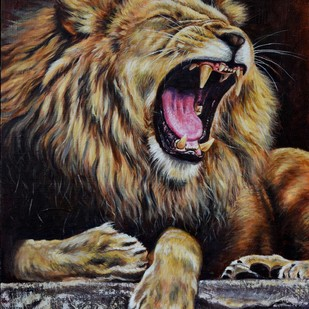 ROAR by Debojyoti Boruah, Expressionism Painting, Acrylic on Canvas, Brown color