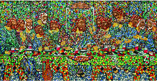 LAST SUPPER by Raveendran Valapad, Expressionism Painting, Mixed Media on Canvas, Brown color