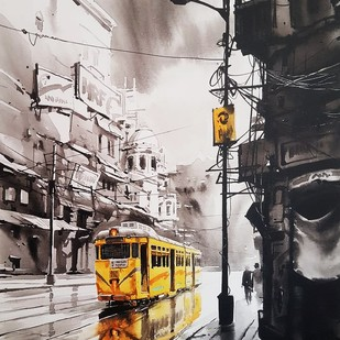 Kolkata City Scape 99 by Arpan bhowmik, Impressionism Painting, Acrylic on Canvas, Gray color