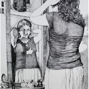 The mirror by Durba Nanda, Illustration Drawing, Ink on Paper, Gray color