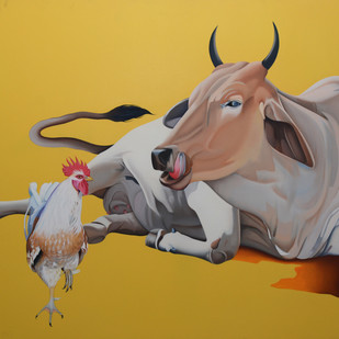 Untitled by Feroz Khan, Photorealism Painting, Oil on Canvas, Brown color