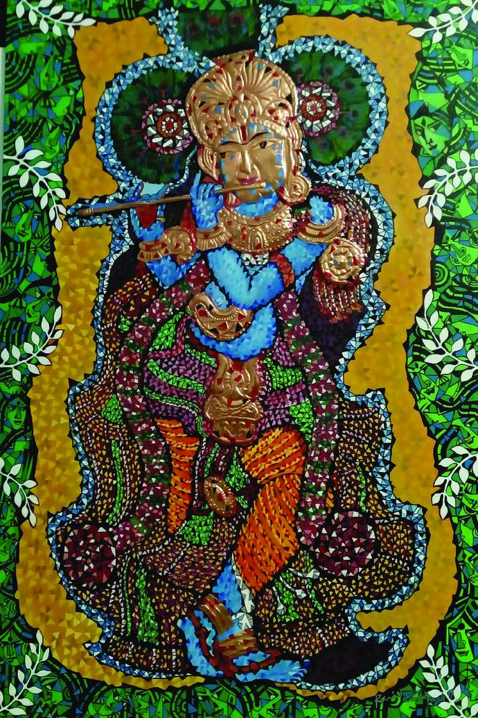 LORD KRISHNA by Raveendran Valapad, Decorative Painting, Mixed Media, Brown color