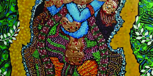 LORD KRISHNA by Raveendran Valapad, Decorative Painting, Mixed Media, Brown color
