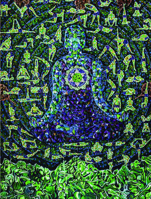 ENLIGHTENMENT by Raveendran Valapad, Expressionism Painting, Mixed Media, Green color