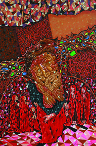 BEHOLD YOUR KING by Raveendran Valapad, Expressionism Painting, Mixed Media, Brown color