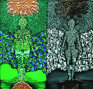 DESTRUCTION by Raveendran Valapad, Expressionism Painting, Mixed Media, Green color