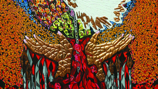 FEEL OF FEAR by Raveendran Valapad, Expressionism Painting, Mixed Media, Brown color