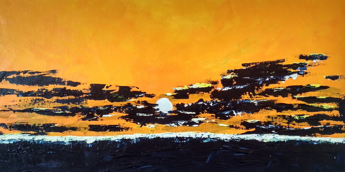 Skyscape 2019_08 by Anamika S, Expressionism Painting, Acrylic on Canvas, Orange color