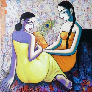 Relaxing two girls by Pravin Utge, Expressionism Painting, Acrylic on Canvas, Gray color