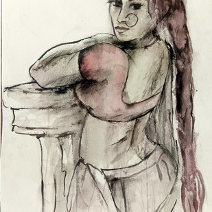 Indian Lady 13 by MADURAI GANESH, Illustration Painting, Watercolor and charcoal on paper, Beige color