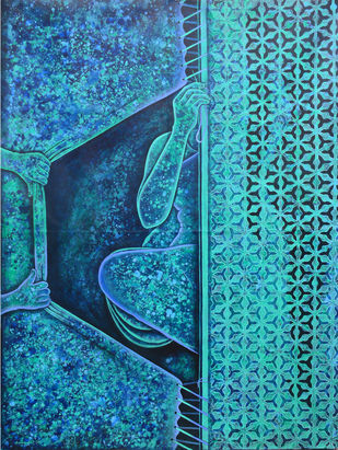 Screen by Baishakhi Mehatori, Expressionism Painting, Acrylic on Canvas, Blue color