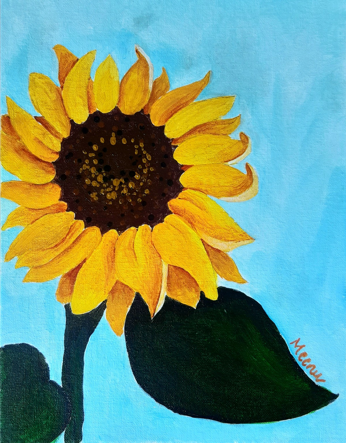 Sunflower by Meenakshi , Expressionism Painting, Acrylic on Board, Cyan color
