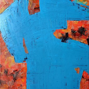 Familiar Boundaries by RUCHIKA KAWLRA MOTWANI, Abstract Painting, Oil on Linen, Blue color