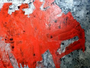Disappearing Boundaries by RUCHIKA KAWLRA MOTWANI, Abstract Painting, Oil on Canvas, Red color