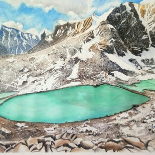 Cradle of great beginnings, Parvati Kund by Laasya Upadhyaya, Impressionism Painting, Watercolor on Paper, Beige color
