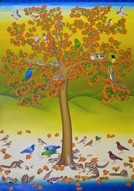 Bounty of Nature by Sabia Khan, Expressionism Painting, Oil on Canvas, Green color