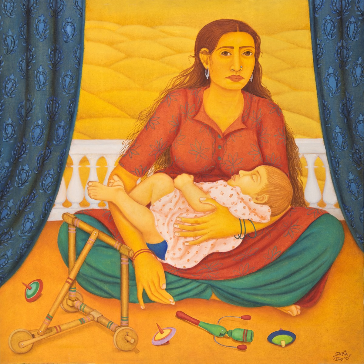 Mother and child by Sabia Khan, Expressionism Painting, Oil on Canvas, Orange color