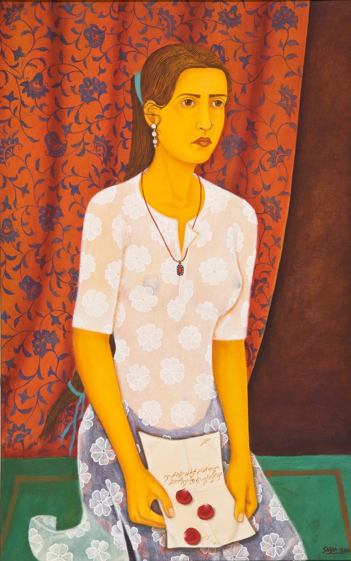 Young maiden by Sabia Khan, Expressionism Painting, Oil on Canvas, Brown color