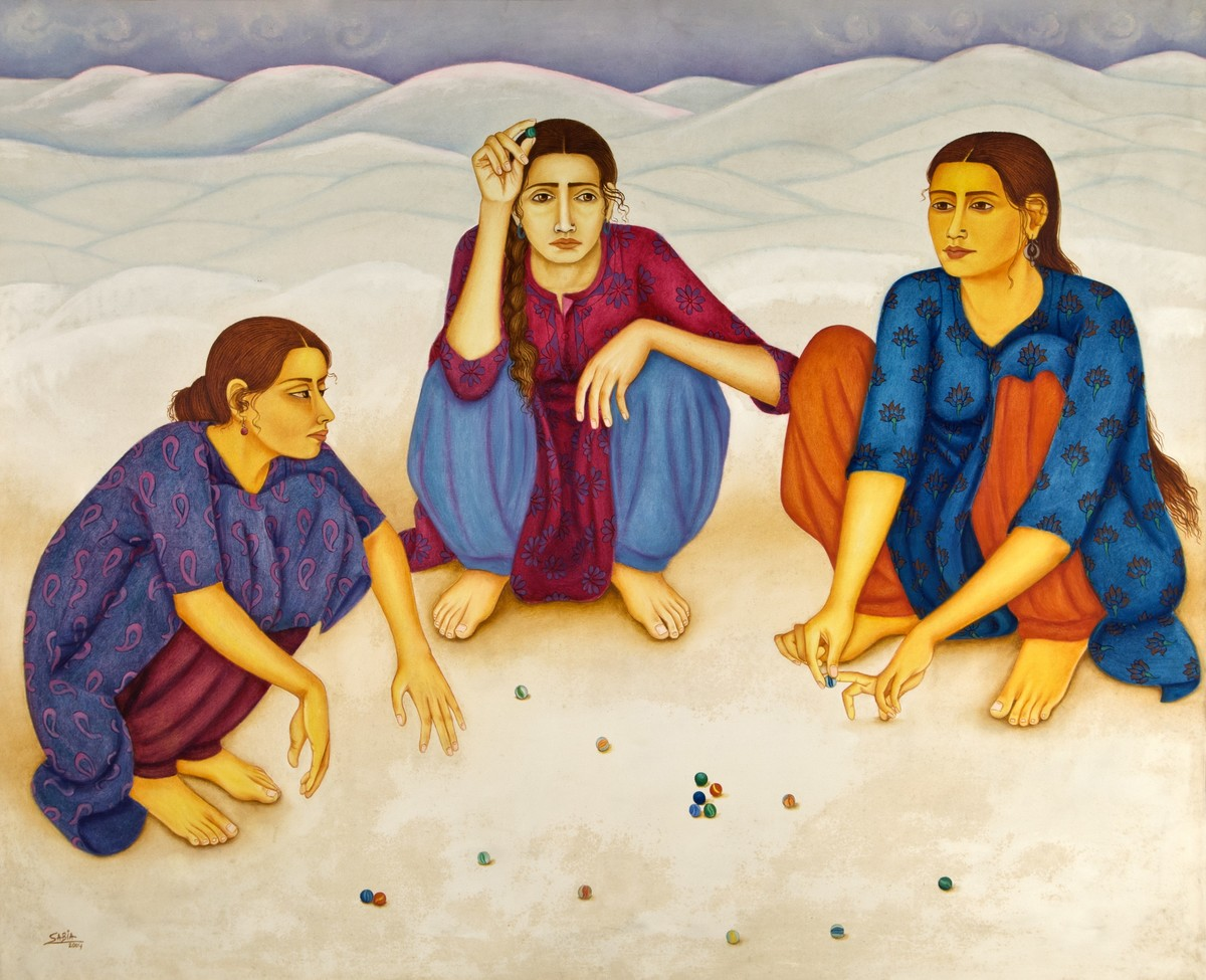 The game of 'Kanche' by Sabia Khan, Expressionism Painting, Oil on Canvas, Beige color