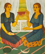 Sharing is caring by Sabia Khan, Expressionism Painting, Oil on Canvas, Beige color