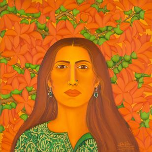 Longitivity by Sabia Khan, Expressionism Painting, Oil on Canvas, Orange color