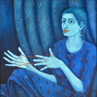 Bygone Era by Sabia Khan, Expressionism Painting, Oil on Canvas, Blue color