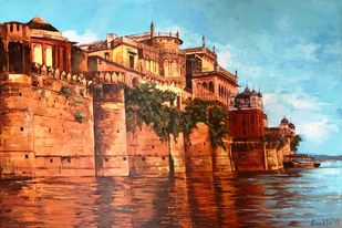 The Eternal City by Anukta M Ghosh, Impressionism Painting, Acrylic on Canvas, Brown color